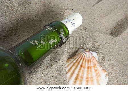 "Letter with ""help"" in a bottle on the beach"