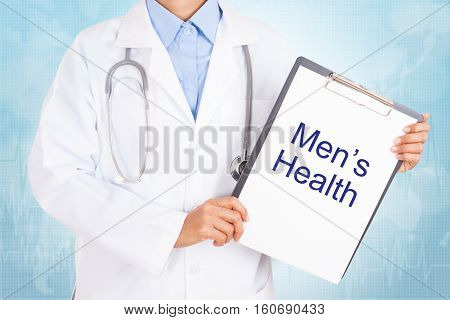 Doctor holding clipboard with Men's health text on a sheet of paper. on white background