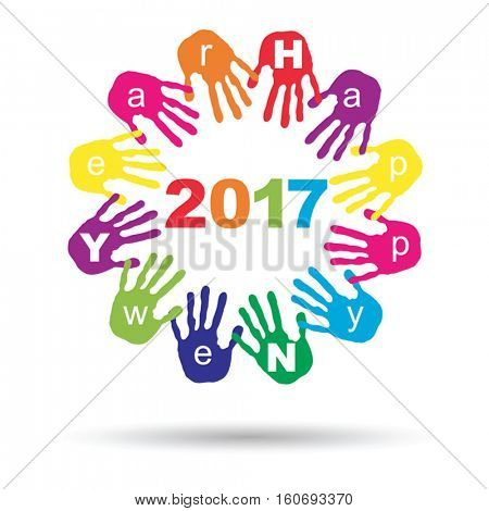 Vector concept or conceptual circle of colorful hand print word cloud text made by children for Happy New Year 2017 greeting isolated on white background
