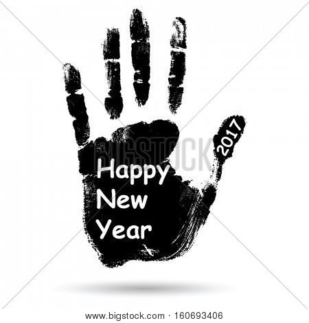Vector concept or conceptual black ink hand print or handprint text made by children, Happy New Year 2017 kid greeting isolated on white background