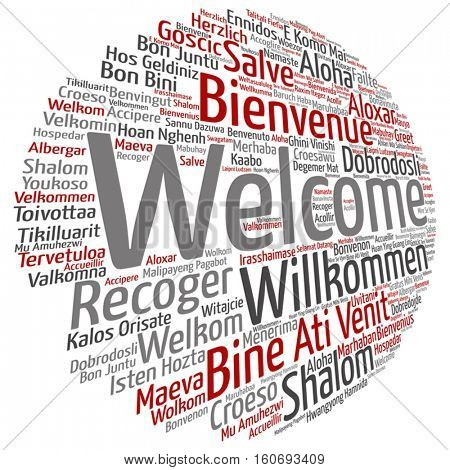 Vector concept or conceptual abstract welcome or greeting international word cloud in different languages or multilingual isolated