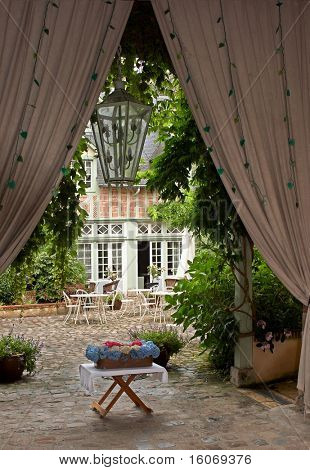 Cosy cottage backyard in Normandy in France