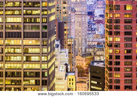 New York City financial district buildings.