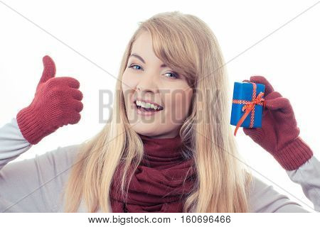 Vintage Photo, Woman Holding Wrapped Gift For Christmas And Showing Thumbs Up