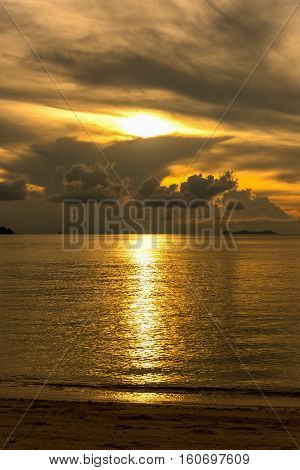 Beautiful golden sunset over the sea. Thailand