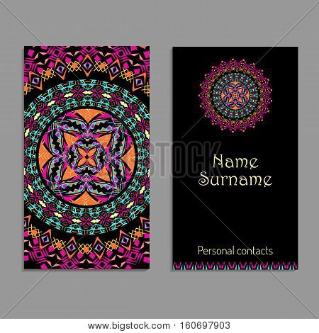 Vector business card template. Ethnic tribal ornaments. Mandala patterns. Boho style. Geometric and floral motifs