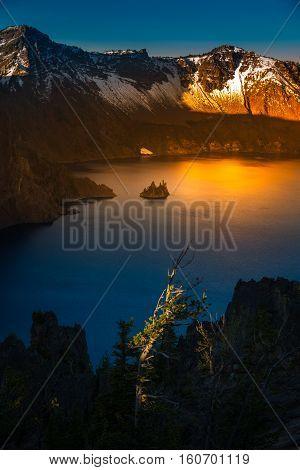 Phantom Ship Island Crater Lake Sunrise