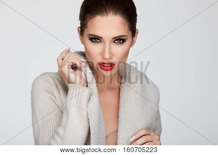 beautiful woman portrait  in warm clothing
