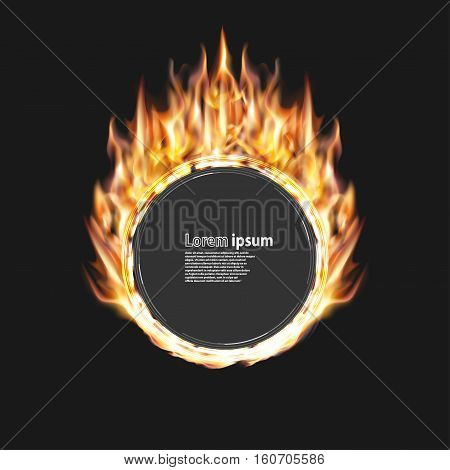 fire party poster abstract layout with circle surrounded by flame luxurious pattern. Vector illustration