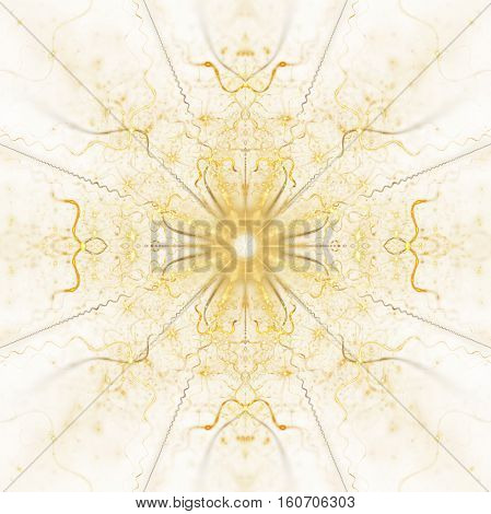 Abstract Golden Flower Ornament On White Background. Symmetric Fractal Mandala In Yellow And Orange