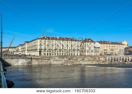 Turin,Italy,Europe - December 2, 2016 : View of Po River and Vittorio Square