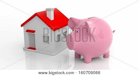 3D Rendering Pink Piggy Bank And A House
