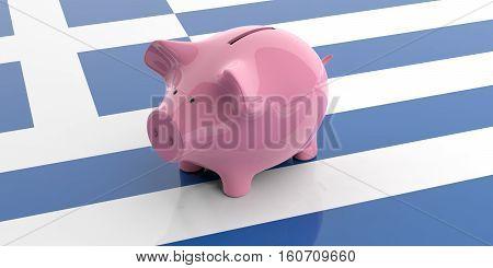 3D Rendering Pink Piggy Bank On Greece Flag