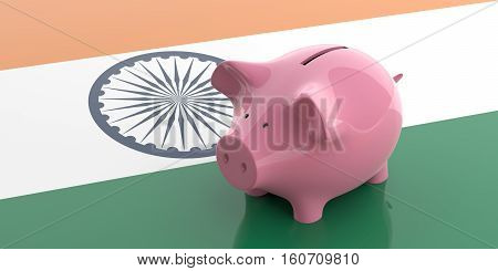 3D Rendering Pink Piggy Bank On India Flag