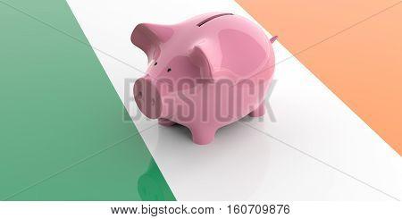 3D Rendering Pink Piggy Bank On Iceland Flag