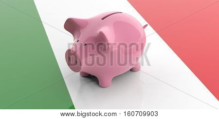 3D Rendering Pink Piggy Bank On Italy Flag
