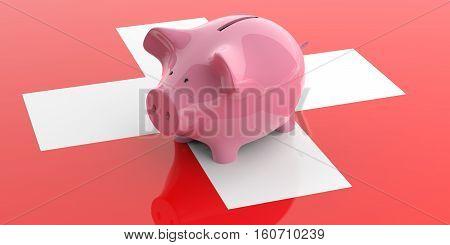 3D Rendering Pink Piggy Bank On Switzerland Flag
