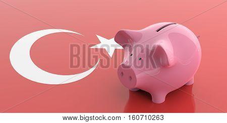3D Rendering Pink Piggy Bank On Turkey Flag