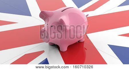 3D Rendering Pink Piggy Bank On Uk Flag