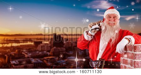 Portrait of Santa Claus carrying bag full of gifts against beautiful view of city skyline