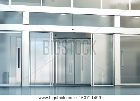 Blank sliding glass doors entrance mockup 3d rendering. Commercial automatic slide entry mock up. Office building exterior template. Closed transparent business centre facade front view.