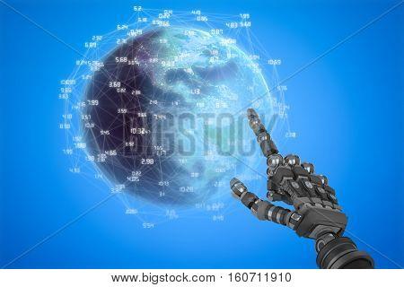 Earth globe against blue background digitally generated blue design background