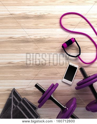 Fitness background with dumbbells and smartphone. View from above