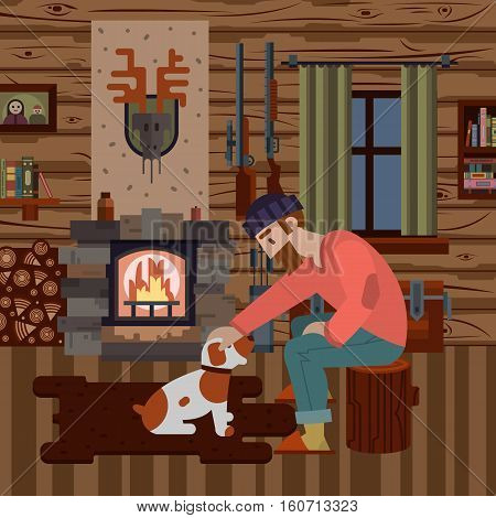 Cozy interior of hunter wood house with different items: logs guns fireplace. Hunter with dog. Modern flat style interior. Vector illustration art for poster and web design.