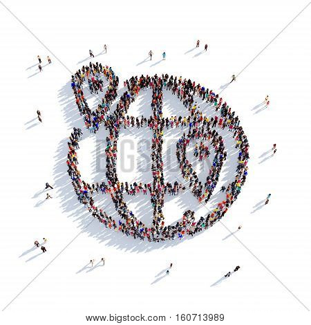Large and creative group of people gathered together in the shape of a globe, a map pointer. 3D illustration, isolated against a white background. 3D-rendering.