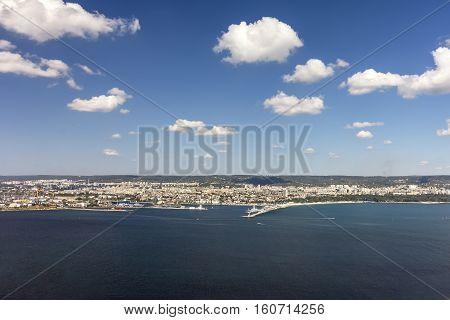 Panoramic view at Varna Town and Black Sea Port Bulgaria