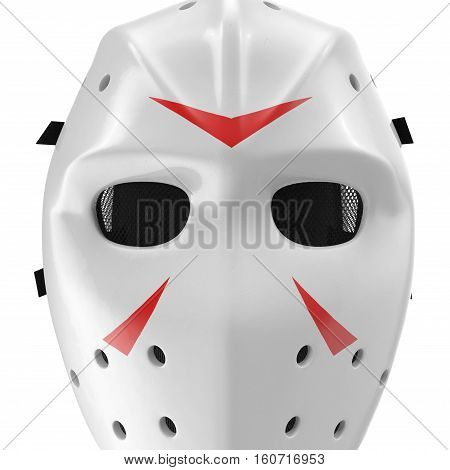 vintage hockey mask on white background. Front view. 3D illustration