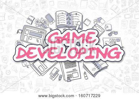 Business Illustration of Game Developing. Doodle Magenta Word Hand Drawn Doodle Design Elements. Game Developing Concept.
