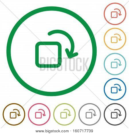 Rotate element flat color icons in round outlines