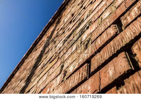 Brick wall background, brick texture, brickwork, rough brick wall, brick wall perspective