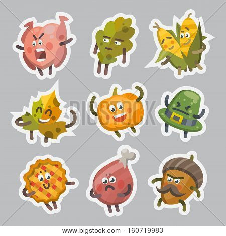 Vector illustration emoticons emoji stickers set on theme of autumn holiday. Autumn emoticons happy thanksgiving day. Different emotions funny pumpkin leaf turkey sweet pie angry hat corn acorn.