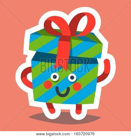 Vector illustration emoticon icon on theme of winter holiday. Emoji emoticon Happy New Year icon. Emotion merry Christmas funny gift. Xmas sticker icon. Flat cartoon style.