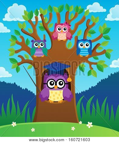 Tree with stylized school owl theme 2 - eps10 vector illustration.