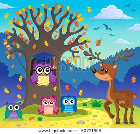 Tree with stylized school owl theme 5 - eps10 vector illustration.
