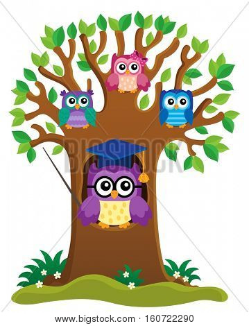 Tree with stylized school owl theme 1 - eps10 vector illustration.