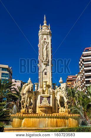 La Fuente de Levante Fountain on Luceros Square in Alicante - Spain
