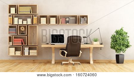Home Office With Wooden Furniture