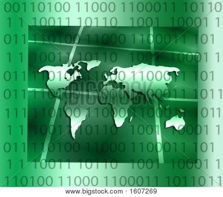 World Map Over Binary Code