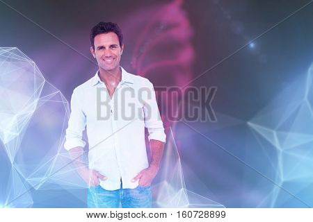 3D Portrait of happy handsome man with hands in pocket against futuristic shiny black background