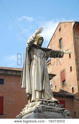 Statue Of Savonarola In Ferrara - Italy
