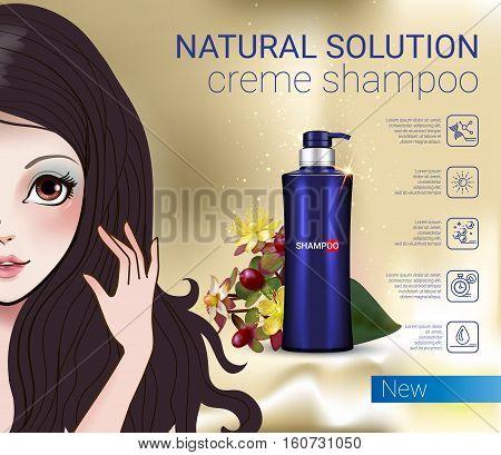 Herbal Shampoo ads. Vector Illustration with Manga style girl and shampoo bottle.