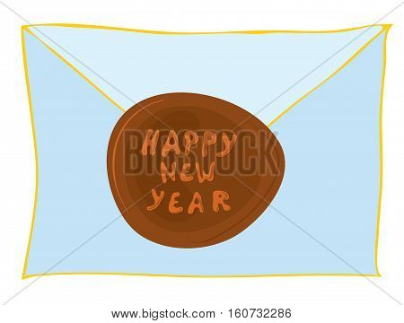 vector envelope with a greeting and a special stamp / happy new year