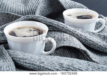 Two White Cups Of Coffee Close-up