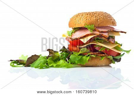 Burger With Salad Isolated On White  Background