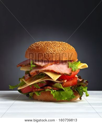 Burger With Salad, Cheese And Ham