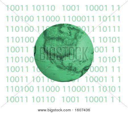 Binary  Code With Globe In Center #2